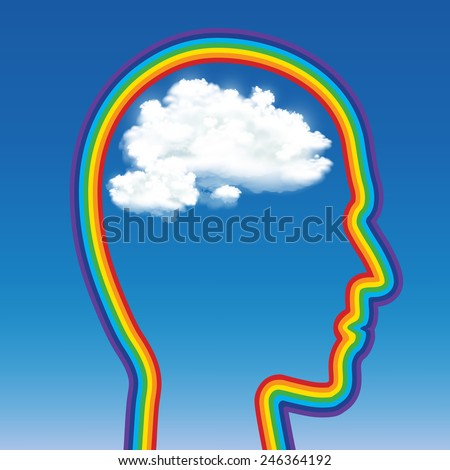 head of a man in the shape of a rainbow with a cloud inside - stock vector