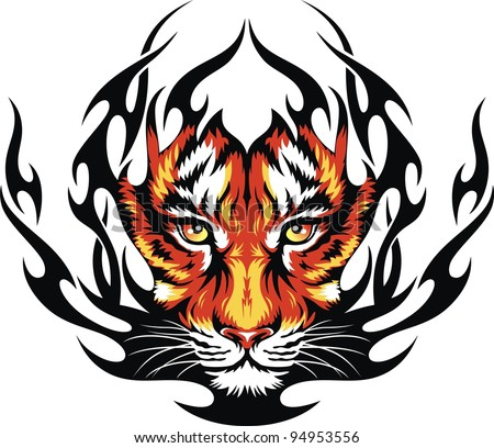 Head of a tiger in tongues of flame in the form of a tattoo - stock vector