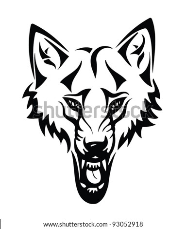 Head of a wolf with tribal - The Black-and-white vector illustration - stock vector