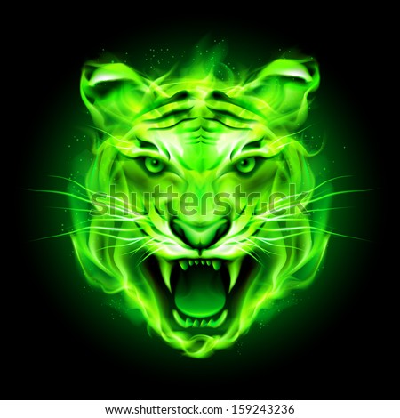Head of agressive green fire tiger isolated on black background. - stock vector