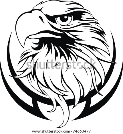 Head of an eagle in the form of the stylized tattoo - stock vector