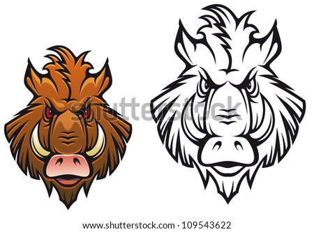 Head of angry boar for sports mascot design in color and black variations, such a logo. Jpeg version also available in gallery - stock vector