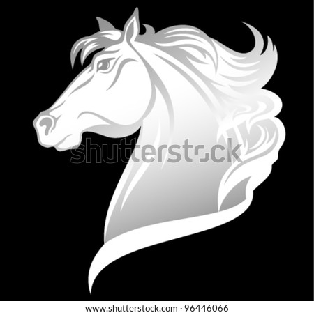 head of beautiful white horse - vector illustration - stock vector