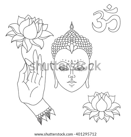 Head of Buddha. Om sign. Hand drawn Buddha hand with lotus flower. Isolated icons of Mudra. Beautiful detailed, serene. Vintage decorative elements. Indian, Hindu motifs vector - stock vector