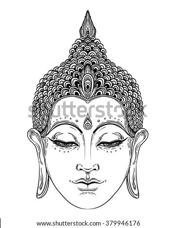 Head of Buddha. Vector illustration isolated on white. Beautifully detailed face, serene. Vintage decorative elements. Indian, Buddhism, Spiritual motifs. Tattoo, yoga, spirituality. - stock vector