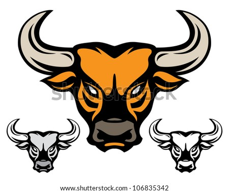 head of bull isolated on white - stock vector
