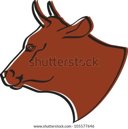 Head of cow - stock vector