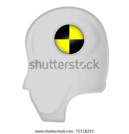 Head of crash test dummy - stock vector