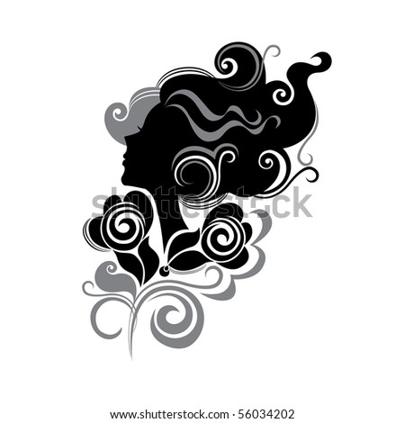 head of female in profile with flowers - stock vector