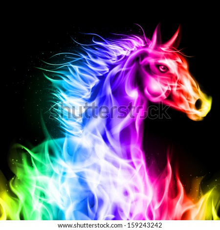 Head of fire horse in spectrum colors on black background. - stock vector