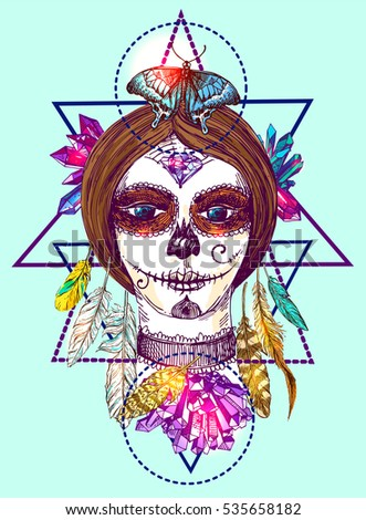 Head of girl with day of the dead make up. Beautiful hand drawn vector illustration. Ink painting. Design element useful for print for t-shirt, poster, postcard