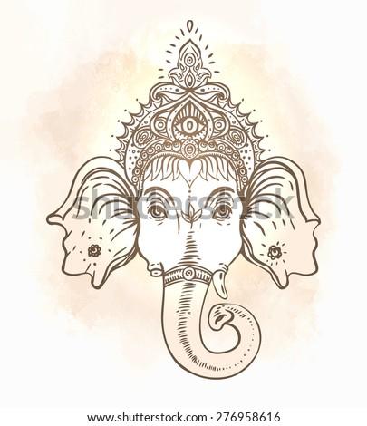 Head of Hindu god Ganesha. Vector illustration - stock vector