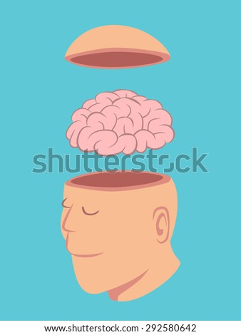 Head of Human opened to show brain isolated on blue background vector - stock vector