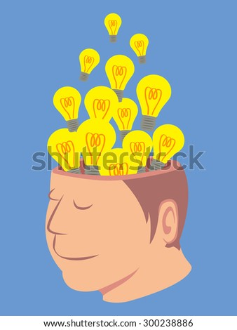 Head of human with a lot of light bulb isolated on blue background vector - stock vector