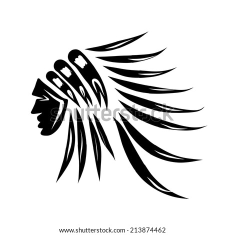 Head of indian chief, black silhouette for your design - stock vector