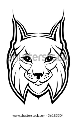 Head of lynx as a mascot isolated on white - abstract emblem or logo of wildlife