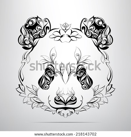 Head of panda in the ornament - stock vector