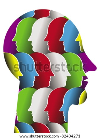 Head of the abstract person from a social network with multicolored typical clusters elements on white background. Vector. - stock vector