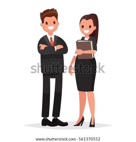 Head of the company, the chief  and  secretary woman. Business couple on a white background. Vector illustration in a flat style