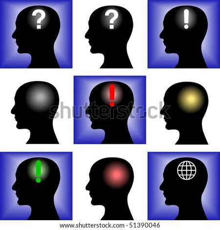 Head of the man on a blue and white background - stock vector