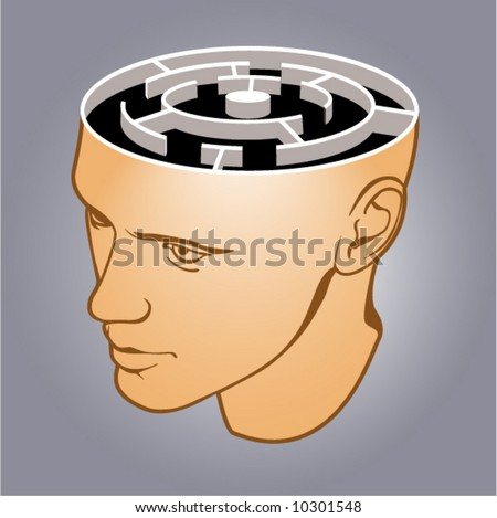 Head of the man with a labyrinth on grey background - stock vector