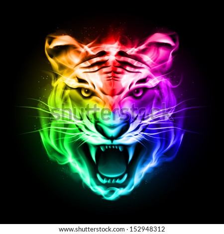 Head of tiger blazing in spectrum fire on black background. - stock vector