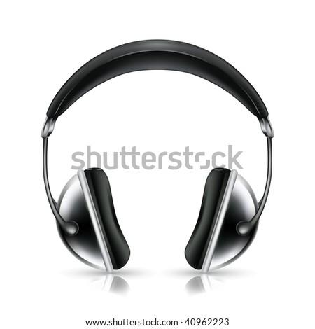 Head phones, vector icon - stock vector