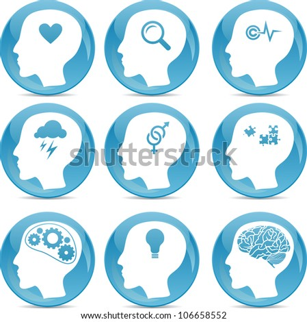 head profile icons with conceptual brain activities - stock vector