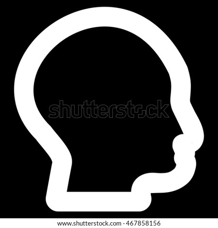 Head Profile vector icon. Style is stroke flat icon symbol, white color, black background.