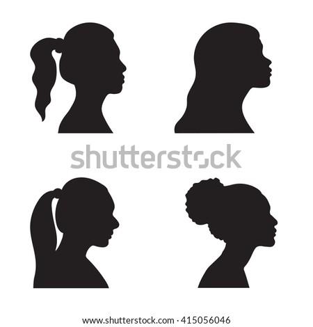 head, profile, woman, silhouette, portrait - stock vector
