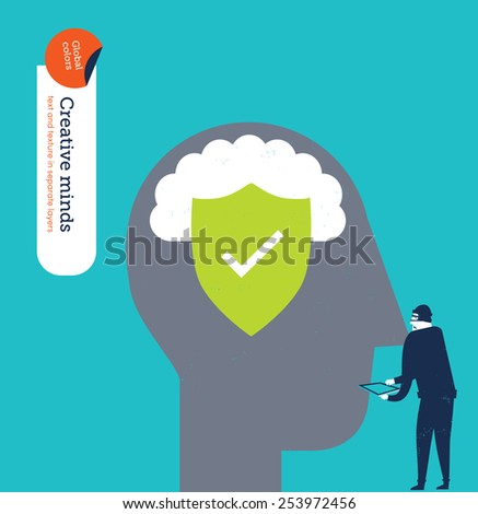 Head protected from hackers' attacks. Vector illustration Eps10 file. Global colors. Text and Texture in separate layers. - stock vector