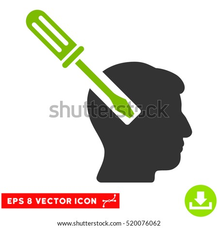 Head Screwdriver Tuning EPS vector icon. Illustration style is flat iconic bicolor eco green and gray symbol on white background.