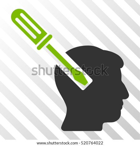 Head Screwdriver Tuning vector pictogram. Illustration style is flat iconic bicolor eco green and gray symbol on a hatch transparent background.