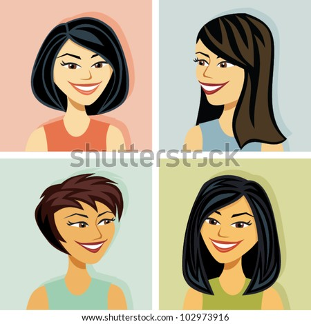 Head shots of several women of asian decent - stock vector