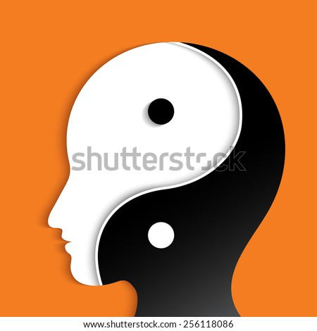 Head silhouette with a ying yang - stock vector
