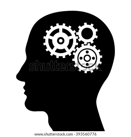 Head silhouette with gears. Vector illustration.