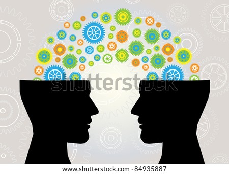 head think communication - stock vector