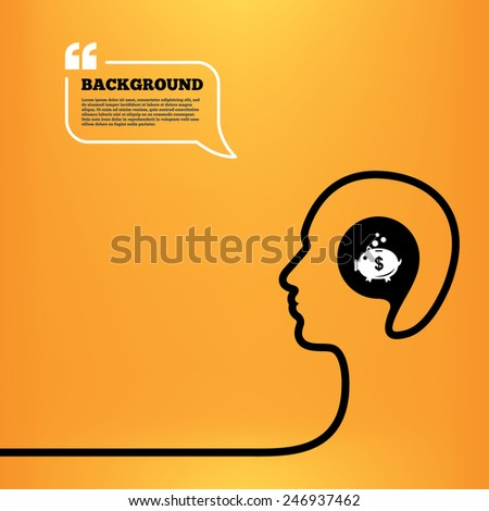 Head think with speech bubble. Piggy bank sign icon. Moneybox dollar symbol. Orange background with quotes. Vector - stock vector