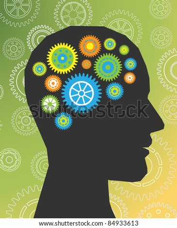 head thinking gear vector - stock vector