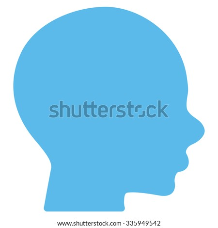 Head vector icon. Style is flat symbol, blue color, rounded angles, white background.
