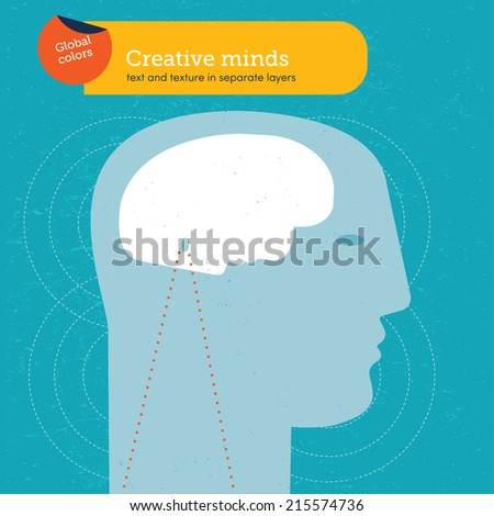 Head with a brain face. Vector illustration Eps10 file. Global colors. Text and Texture in separate layers. - stock vector