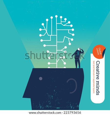 Head with a lamp Vector illustration Eps10 file. Global colors. Text and Texture in separate layers. - stock vector