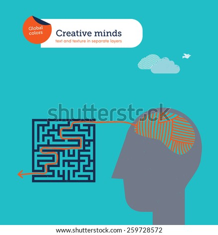 Head with ball of yarn brain finding a maze exit. Eps10 file. Global colors. Text and Texture in separate layers. - stock vector