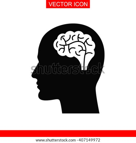 Head with brain Icon. Head with brain Vector. Head with brain Icon Button. Head with brain Picture. Head with brain Image. Head with brain Illustration. Male human head think symbol. - stock vector