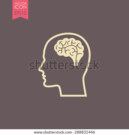 Head with brain vector icon. Male human head think symbol. - stock vector