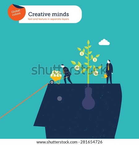 Head with bulb plant and businessmen harvesting ideas. Vector illustration Eps10 file. Global colors. Text and Texture in separate layers. - stock vector