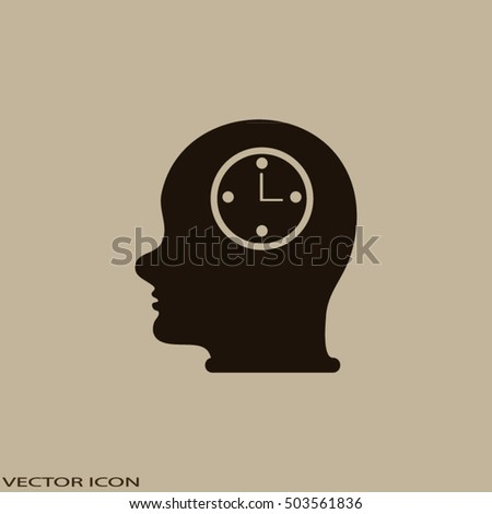 Head With Clock. man head and his mind about clock. Icon watch.