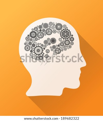 Head with cogs and wheels for brain on orange background - stock vector