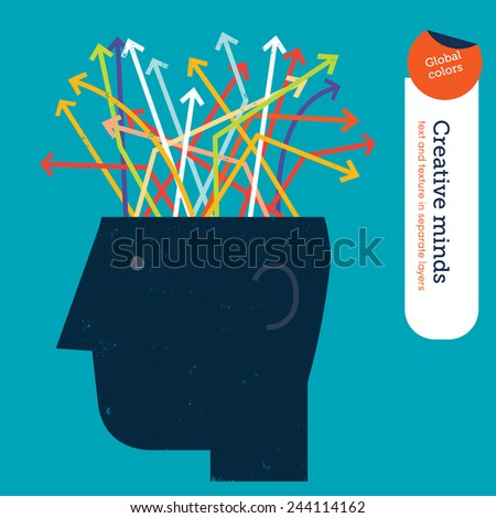 Head with colorful arrows inside the brain. Vector illustration Eps10 file. Global colors. Text and Texture in separate layers. - stock vector
