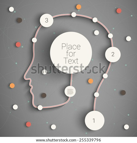 Head with creative rounds as a infographic template. Eps10 vector for your design - stock vector